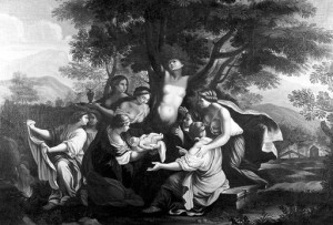 The birth of Adonis and the transformation of Myrrha. Oil painting by Luigi Garzi.